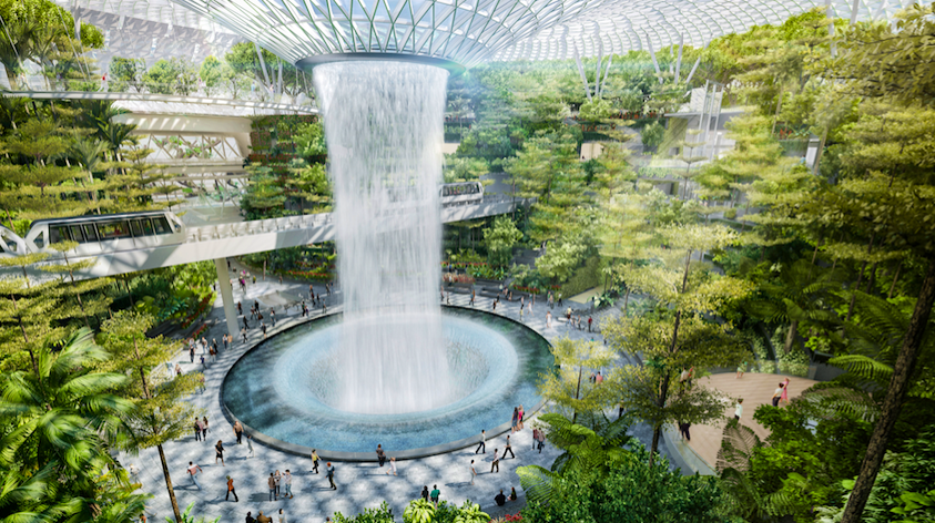See the World's Tallest Indoor Waterfall at this New Airport