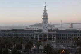 Ferry Building and Bay Bridge at sunset.jpg