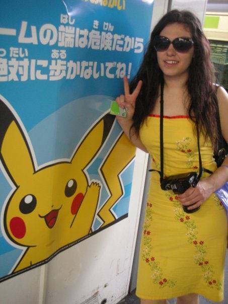 Having fun at the station with Pikachu