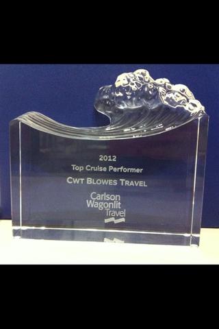 We won the Carlson Wagonlit Travel Cruise Award!