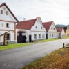 Rural decorated houses in Holasovice. UNESCO World Heritage Site, South Bohemia, Czech Republic.jpg