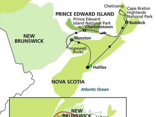 Highlights of the Canadian Maritimes with Ocean Train to Montréal