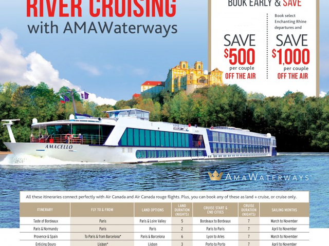 AMAWaterways River Cruises - Up to $1,000 OFF the AIR
