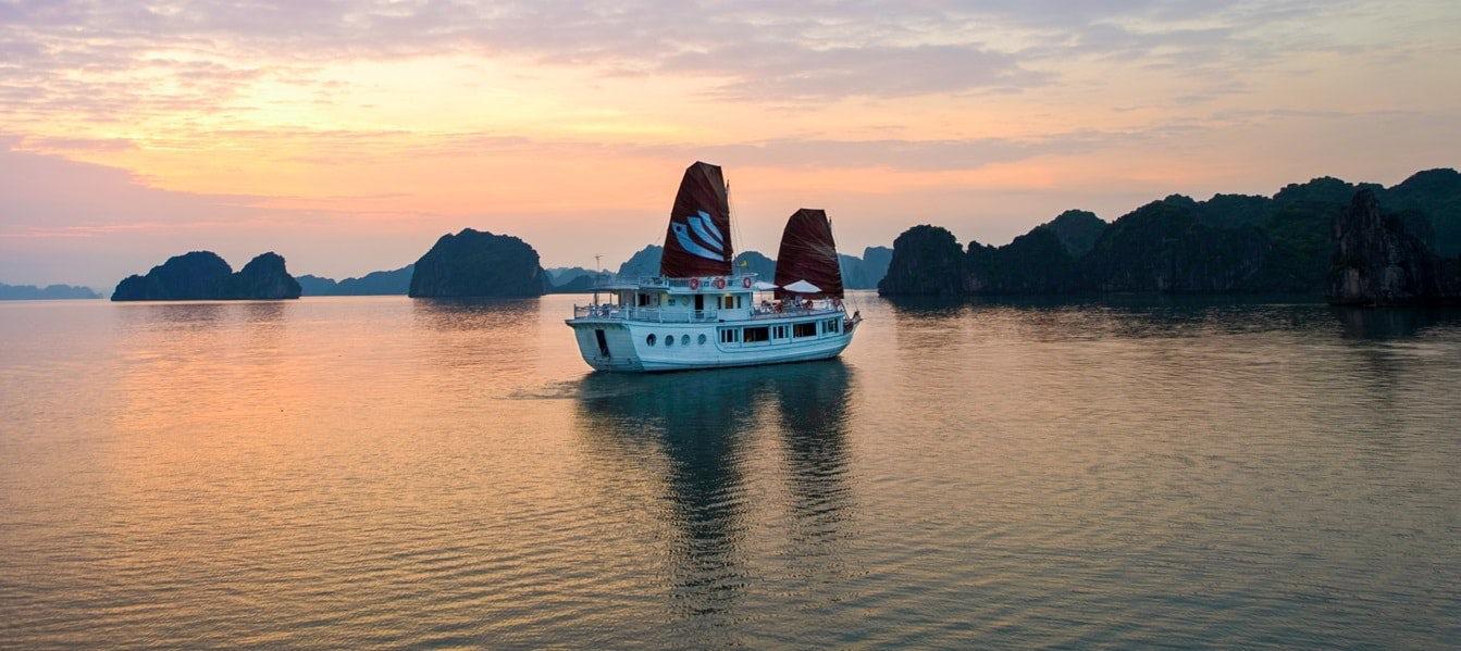 Magical sunset at Halong Bay, Vietnam