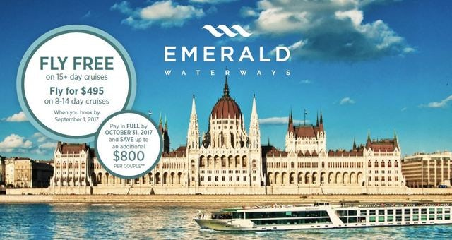 Your Flight is Free When you book a 15 Day Emerald Waterways Cruise