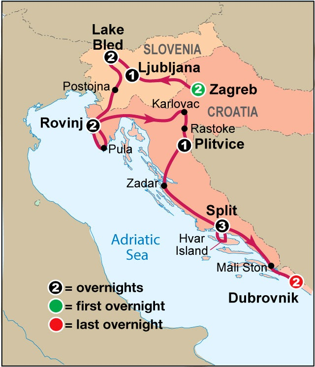 Explore Croatia & the Dalmatian Coast Map