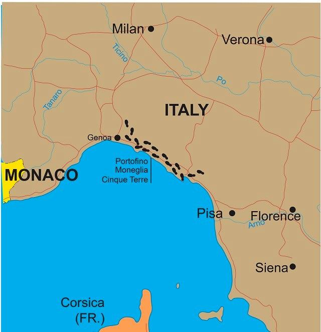Walks of the Cinque Terre and Portofino Map