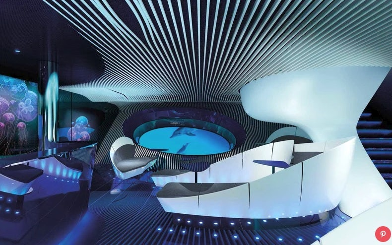 Blue Eye, the underwater lounge aboard the PONANT EXPLORERS