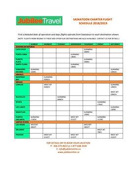 Saskatoon Charter Schedule 2018/2019