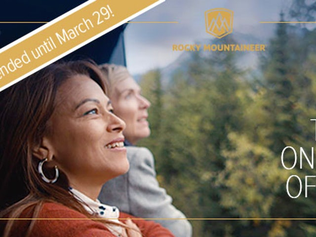 Limited time offer - receive up to $500* per couple with Rocky Mountaineer.