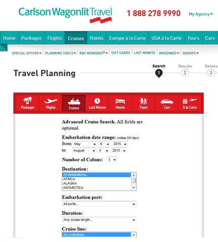 Carlson Wagonlit Travel Cruise Booking Engine