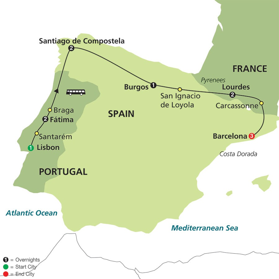 Loyola Spain Map.Fatima Lourdes Shrines Of Spain Faith Based Travel