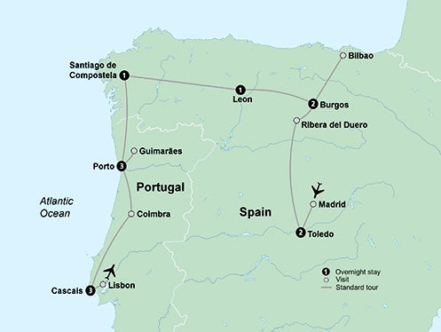 Map Of Northern Spain And Portugal.Northern Spain Portugal