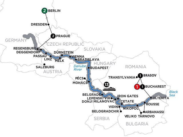 Grand Danube Cruise with 2 Nights Berlin & 2 Nights Transylvania