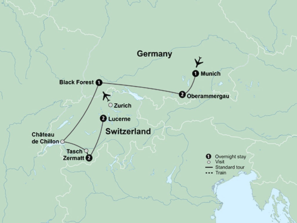 Oberammergau Germany Map.Switzerland And Germany With Oberammergau Passion Play