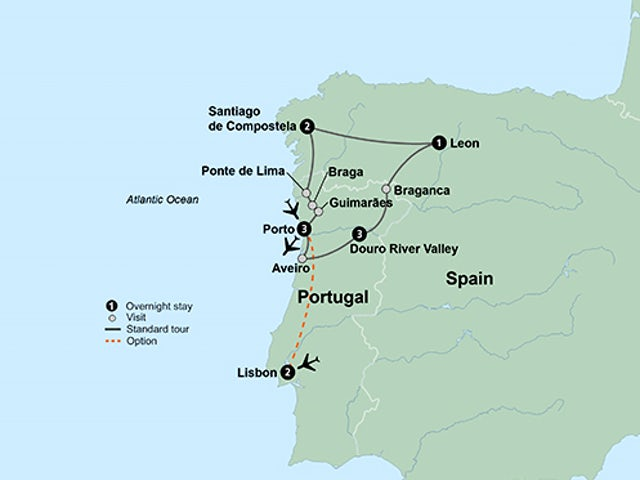 Map Of Northern Portugal And Spain.Northern Portugal Spain Featuring The Douro River Valley